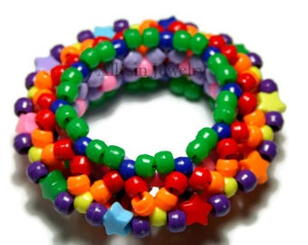 3D Rainbow Kandi Cuff, Disc Style, UFO Bracelet, Raver Plur Star Jewelry