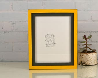 "8.5x11"" Picture Frame in 1x1 Flat Build Up Style Vintage Sable Gray and Vintage Buttercup Yellow Finish - IN STOCK - Same Day Shipping"