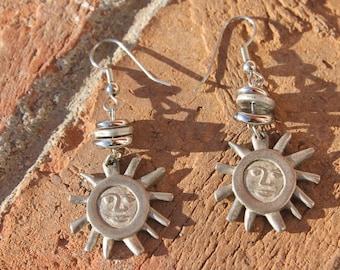 Pewter Happy Sun Earrings - Weighted earrings - hippie earrings