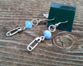 Light Blue Crystal New Baby Earrings feature Diaper Pin Charm and Crystal Bead - Perfect for Baby Showers and New Moms