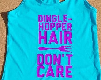 Dinglehopper hair don't care women's tank top