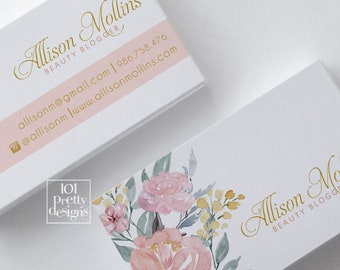 Floral business card design flowers business card watercolor business cards design printable business card pink feminine beauty stylist