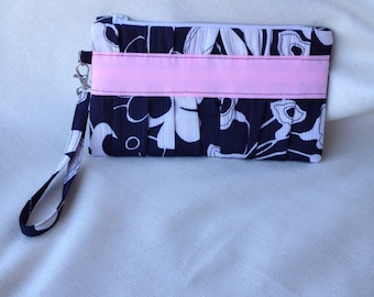 Black and white floral clutch with pink valentines Mothers Day