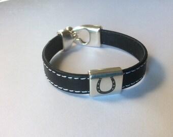 Leather Bracelet   Leather and silver bracelet   Handmade bracelet   Wrap bracelet   Modern bracelet   Horseshoe bracelet   Horse Jewelry