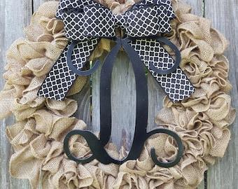 Monogram Wreath, Burlap Monogram Wreath, Front Door Wreath, Everyday Wreath, Black and White Wreath, Initial Wreath, Burlap Wreath