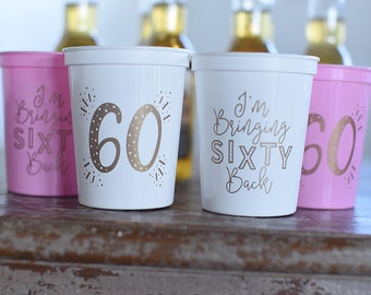 60th Birthday Party Favors - 60th Birthday Party Cups, I'm Bringing 60 Back, 60th Birthday Ideas and Decorations