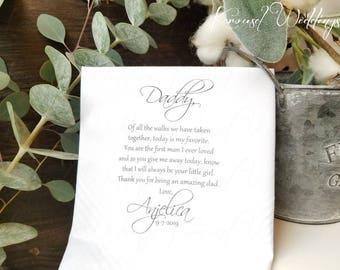 Father of the Bride Gift -  Wedding Handkerchief - Wedding Hankerchief - Wedding gift - Rustic Wedding ideas - Customized Wedding Hankies