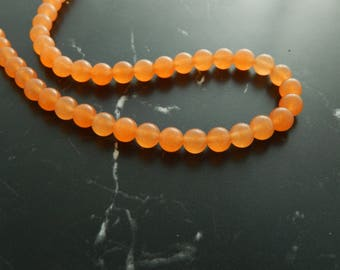 Beads of Tangerine Jade, set of 10, 8mm, ref 212