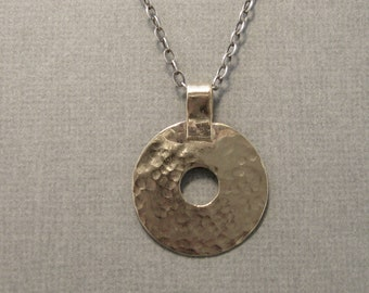 Rustic hammered gold filled disc pendant, textured gold filled pendant, boho mixed metal hammered pendant necklace