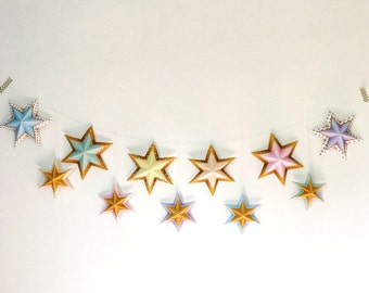 Star garland, Printable stars garland, Printable party decor, Printable decorations, Gold and pastel party garland, 3D paper stars garland.