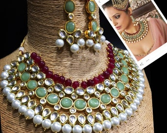 Party wear Kundan Necklace Set With Earrings - Bollywood Traditional Party Wear Jewelry
