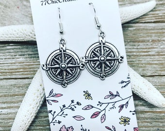 Tibetan silver compass earrings