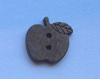 6 Brown wooden two-holed buttons Apple
