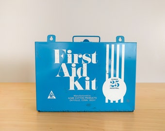 Vintage / First Aid Kit / ACME / Wall Hanging / Retro / Medicine cabinet / Fall Out / Medical / Blue and White / bathroom / BandAid Box