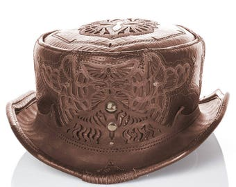 Leather Top Hat | Daunting & Dapper Short Top Hat | Brown Alligator Print | Brass | Silver | Adjustable Sizing | Steampunk | Custom Made