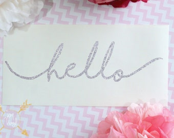 Hello Glitter Vinyl Decal, Laptop Decal