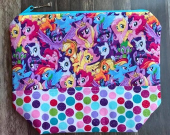 My Little Pony Knitting or Crochet Project Bag Wedge Bag Zippered Bag
