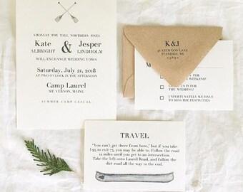 Summer Camp Wedding Invitations - Summer Camp Wedding Suite - New England Wedding Invitations