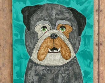 Bulldog Painting - Original Artwork - Whimsical Dog On 8 X 10 Gessobord Panel - Textured Wall Hanging