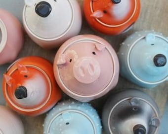 Pink Pig Storage Jar With Lid, Cookie Jar, Ceramic Cute Pig, Pottery Canisters Coffee And Tea Storage Jars Kitchen Organization Decor Ideas
