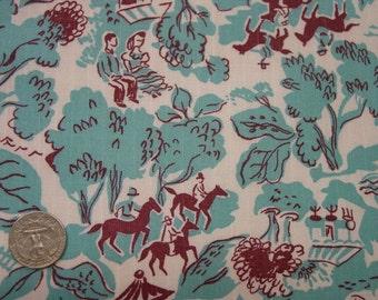 "Vintage Novelty Feedsack, Scenic Figures,Horses, Trees, Aqua, White 36 x 43"""