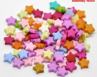 Beautiful high quality 10mm resin STAR beads - you get 200