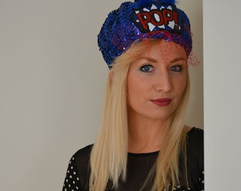 Paillette beret with red veil