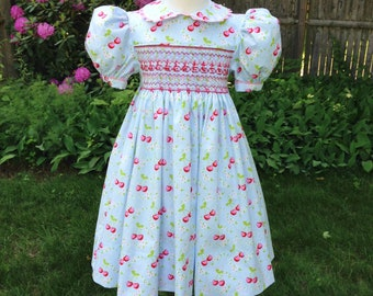 Girls Size 3T Smocked dress Blue dress Red and pink cherry Ready to ship Party dress Special occasion Birthday gift Wedding Handmade dress