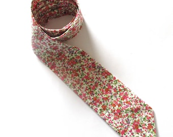 Men's Necktie ~Lovely pink and  purple  floral tie ~ quality cotton