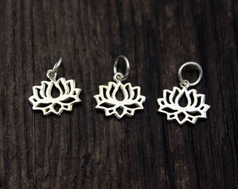 4 sterling silver lotus charm, sterling silver lotus pendant,Sterling Silver lotus flower,yoga jewelry