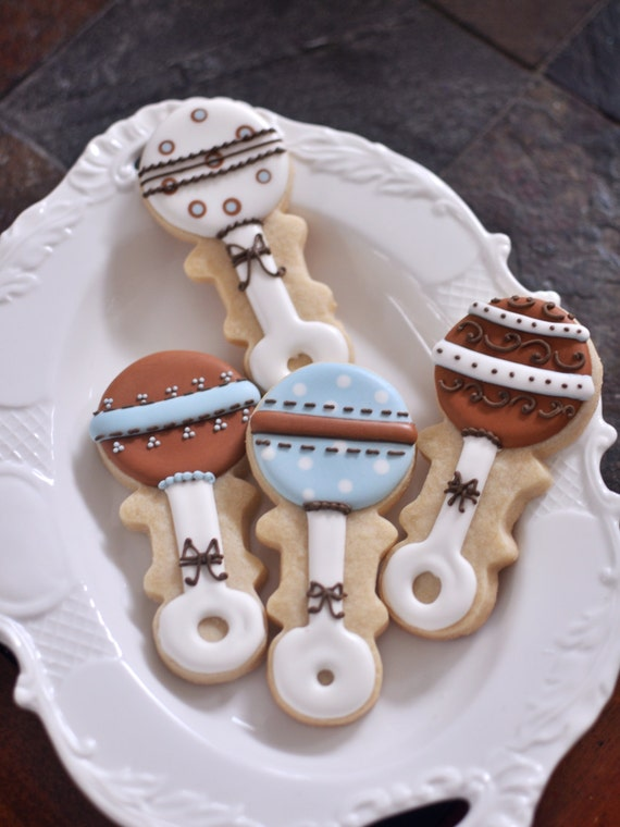 12 Baby Rattle Cookie Favors - for Boy  Baby Shower