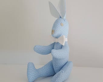 Blue Rabbit with off-white bow - handmade
