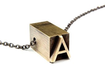 Brass Letterpress Initial Necklace - Solid Brass Letterpress Pendant Necklace - Personalized - All Letters Available - Upper and Lower Case