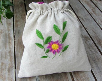 Embroidered bag, linen drawstring bag, hand embroidery, project bag, storage bag, embroidered pouch, stump work