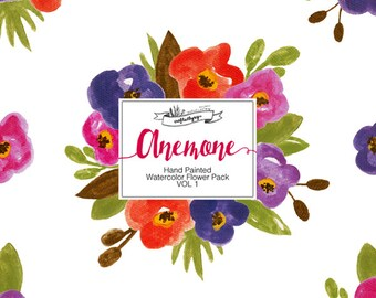 INSTANT DOWNLOAD Hand Painted Watercolor Flower Pack - Anemone Vol 1 (Hi Res)