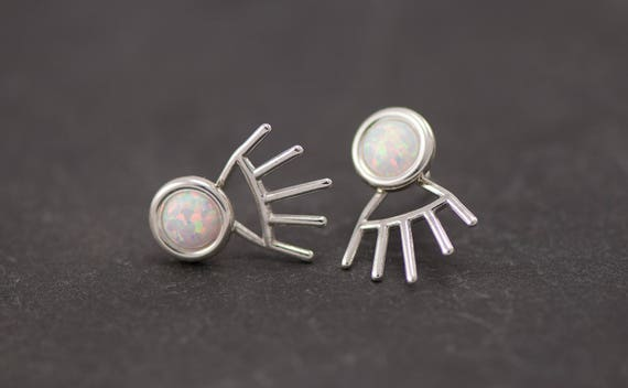 Spike ear jacket- Silver Opal Earrings- Opal Stud Earrings- Silver Opal Earrings- Sterling Silver Studs- Opal Post Earrings