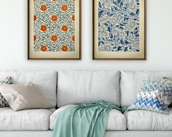 CHINESE GRAPHIC ART  Print set of 2 Prints, Elegant Blue and orange Floral Chinese Design Poster, Chinese Drawing Floral Pattern