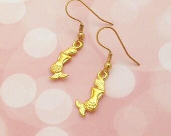 Gold Mermaid Earrings, Charm Earrings, Mermaid Jewellery, Mermaid Gift, Fantasy Earrings, Simple Earrings, Dainty Jewellery, Cute Earrings