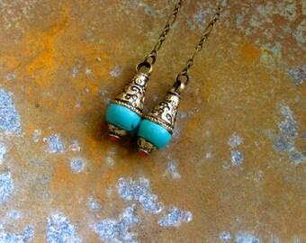Turquoise Earrings,Tibetan Earrings,Tibetan Turquoise Earrings,Turquoise Shoulder Dusters,Tibetan Jewelry,Gold Tibetan Earrings,Turquoise