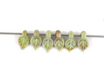 SRA Artisan Nature Themed Lampwork Beads set of six handmade glass leaves patty lakinsmith