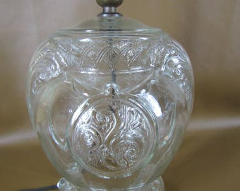 Vintage pressed clear glass lamp