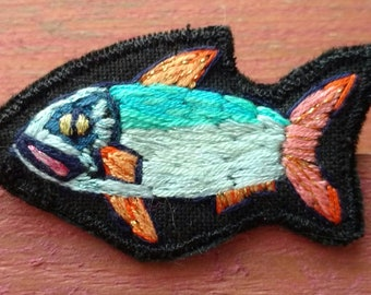 Embroidered fish brooch