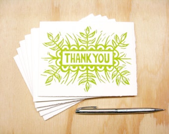 Greeting Cards - Green Thank You - Set of 6 - Block Printed Cards - Spring Grass