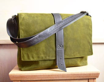 Waxed Canvas Messenger Bag Green Mens Laptop Satchel Crossbody Over the Shoulder Courier Bag with Sleeve Pocket - The Sloane in Moss Green