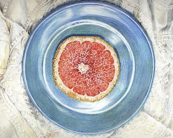Grapefruit Drawing- 8x10- Original Colored Pencil Drawing on Paper- Pink Fruit on Blue Plate- Still Life