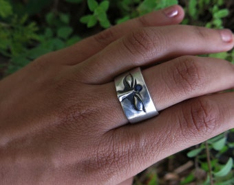 Size 8 Sapphire Third Eye Sterling Silver Ring