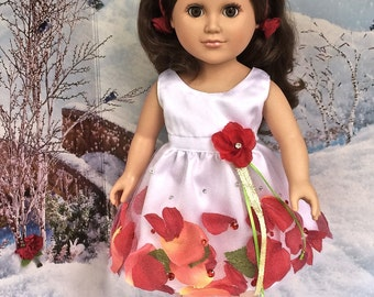 Doll dresses for 18 inch dolls. Doll dress with enclosed rose petals, doll's hand crocheted shoes, doll's rose covered lace hairband.