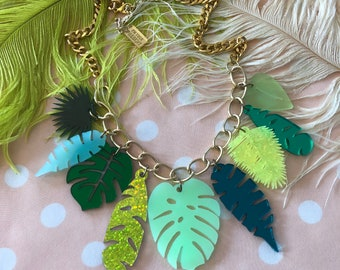 Tropical Leaves Necklace, Laser Cut Acrylic, Plastic Jewelry