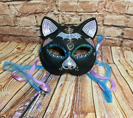 Jeweled Black Cat Sugar Skull Wearable Day Of The Dead Original Masquerade Wall Decor Biohazard Baby Mask