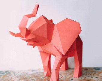 3D Geometric Elephant Craft, Low Poly Paper Craft